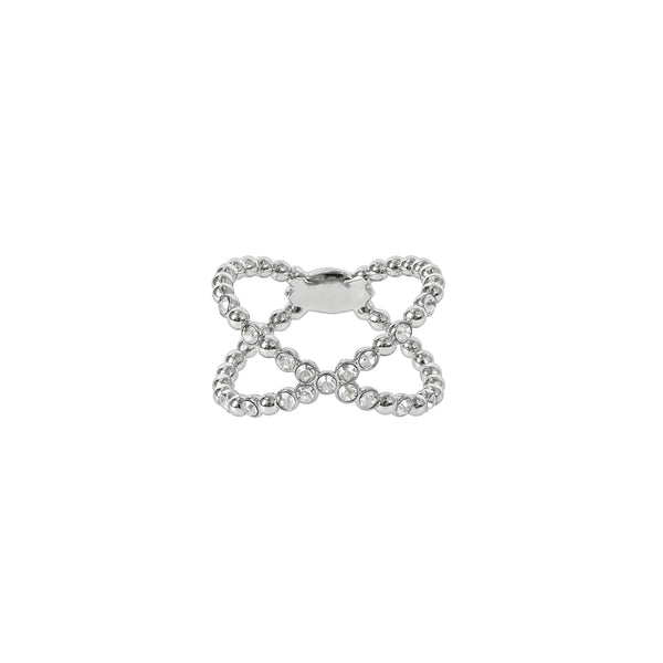 Beaded Crossing Ring - Crystal/Rhodium Plated