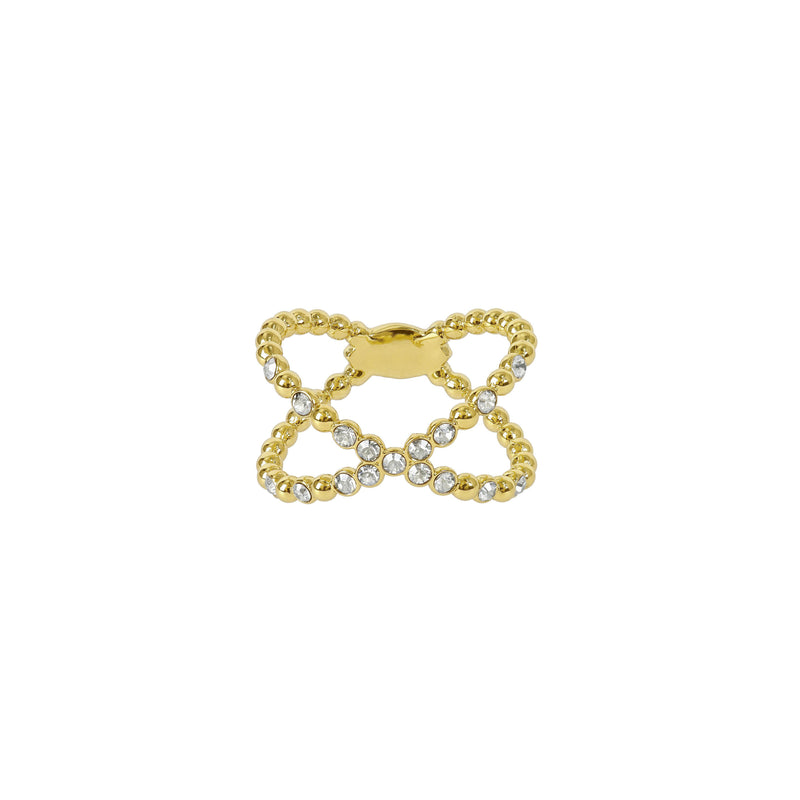 Beaded Crossing Ring - Crystal/Gold Plated