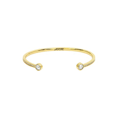 Skinny Pavé & Stone Bangle - Crystal/Gold Plated