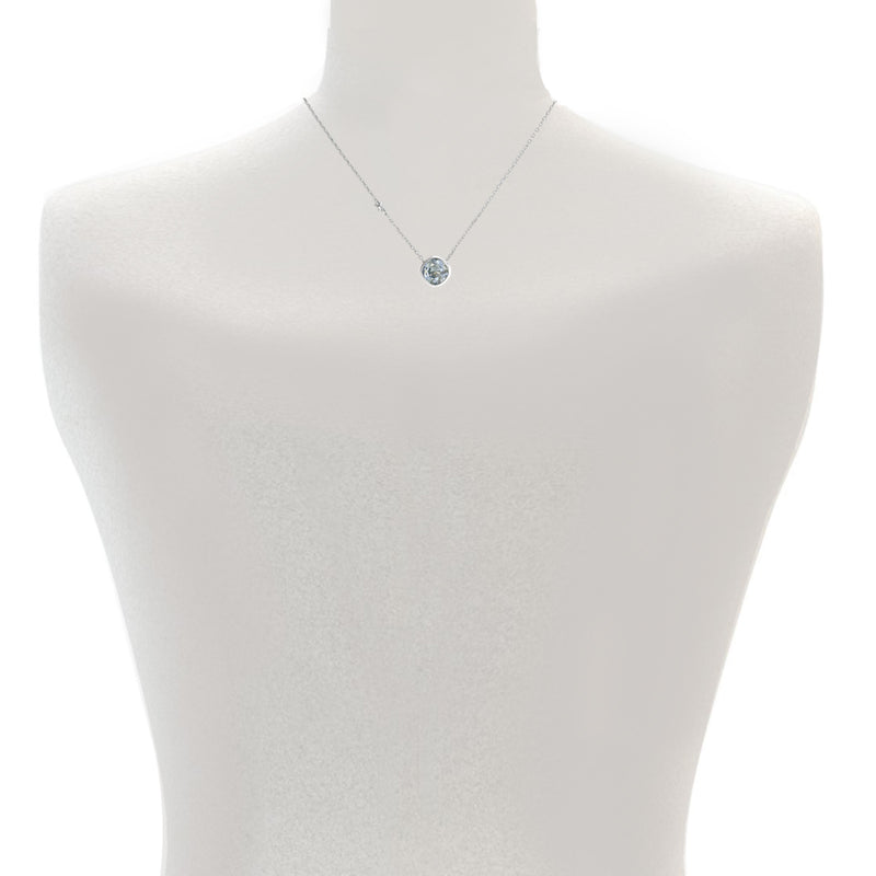 Soft Square Necklace - Pink Crystal/Rhodium Plated