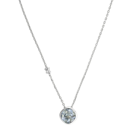 Soft Square Necklace - Blue Crystal/RhodiumPlated