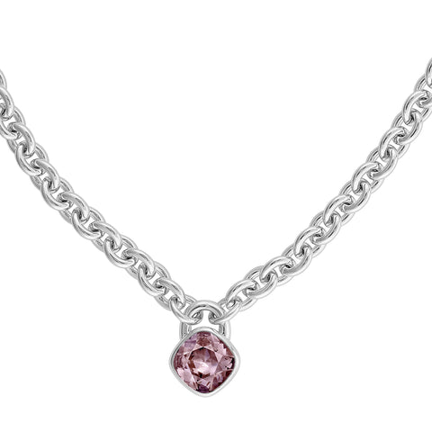 Soft Square Lock Necklace - Pink Crystal/Rhodium Plated