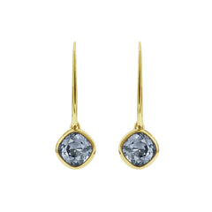 Soft Square French Wire Earrings - Grey Crystal/Gold Plated
