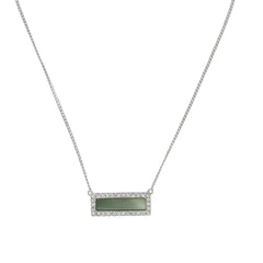 Resin & Pavé Bar Necklace - Crystal/Grey Resin/Rhodium Plated