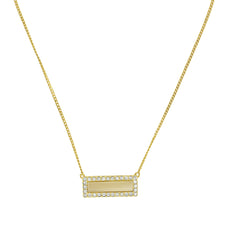Resin & Pavé Bar Necklace- Crystal/Beige Resin/Gold Plated