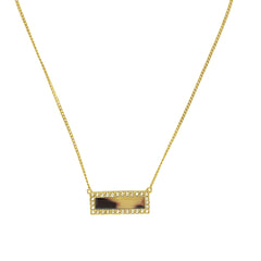 Resin & Pavé Bar Necklace- Crystal/Mixed Resin/Gold Plated