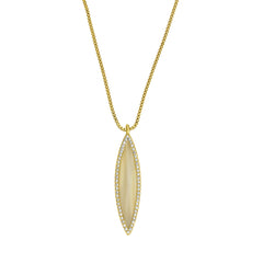 Resin Navette Necklace - Crystal/Gold Plated