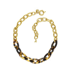 Resin Bold Necklace- Crystal/Mixed Resin/Gold Plated