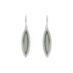 Resin Navette French Wire Earrings - Crystal/Grey Resin/Rhodium Plated