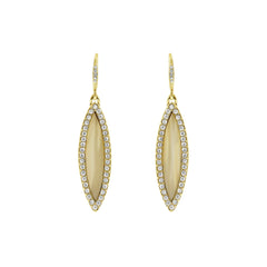 Resin Navette French Wire Earrings - Crystal/Beige Resin/Gold Plated