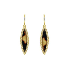 Resin Navette French Wire Earrings - Crystal/Mixed Resin/Gold Plated
