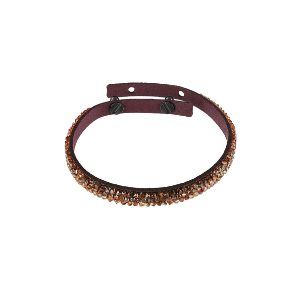 Skinny Crystal Fine Rock Bracelet - Crystal/Dark Burgundy Ultra Suede