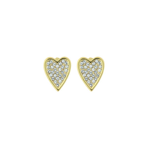 Pointed Heart Earrings - Crystal/Gold Plated