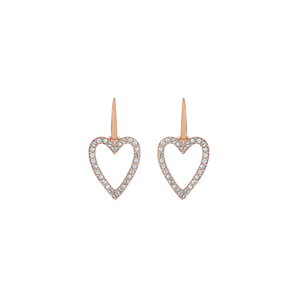 Pointed Open Heart Earrings - Crystal/Rose Gold Plated