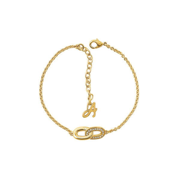 Oval Interlocking Link Bracelet - Crystal/Gold Plated