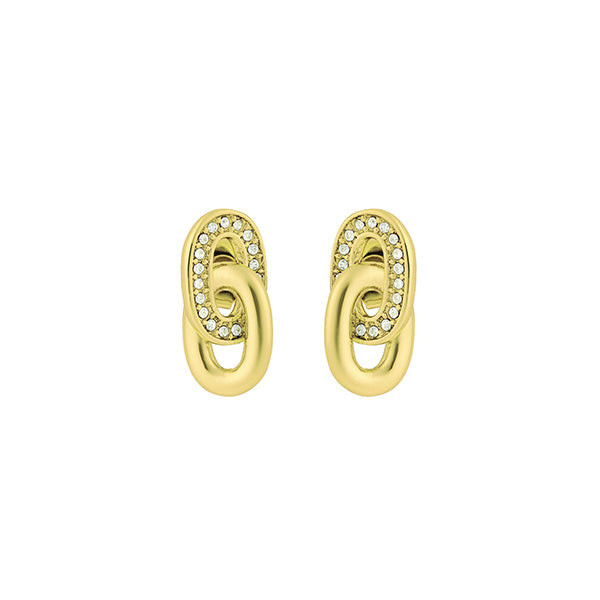 Oval Interlocking Link Earrings - Crystal/Gold Plated