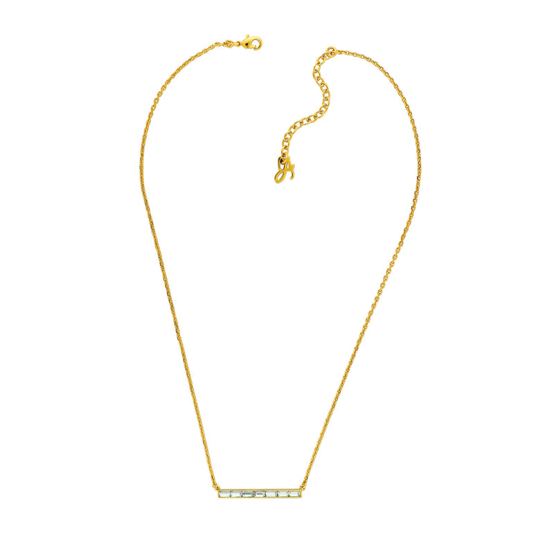 Baguette Bar Necklace - Crystal/Gold Plated