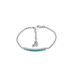 Baguette Bar Bracelet - Aquamarine Crystal/Rhodium Plated