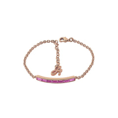 Baguette Bar Bracelet - Light Rose Crystal/Rose Gold Plated