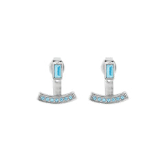 Baguette Bar Earrings - Aquamarine Crystal/Rhodium Plated