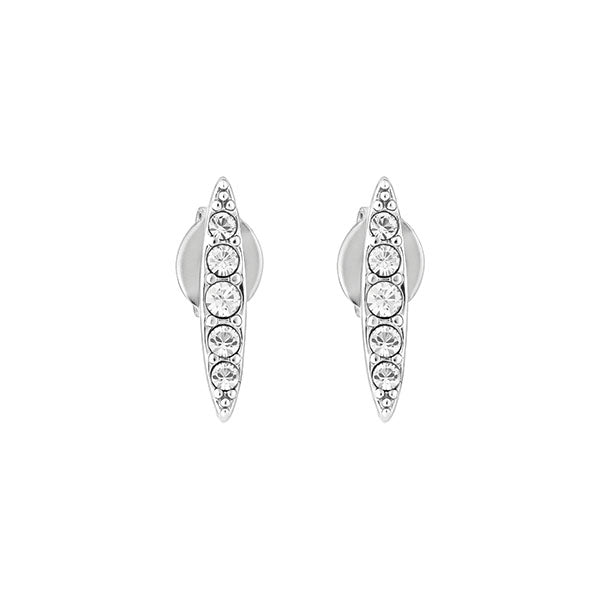 Pavé Navette Stud Earrings - Crystal/Rhodium Plated