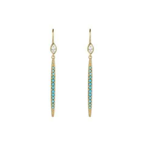 Linear Bar French Wire Earring - Turquoise Crystal/Gold Plated