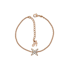 4 Point Star Bracelet - Crystal/Rose Gold Plated