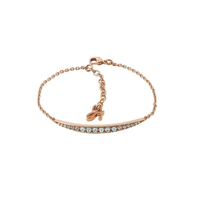 Curved Bar Bracelet - Crystal/Rose Gold Plated