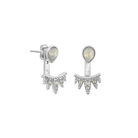 Teardrop Jacket Earrings - White Opal Crystal/Rhodium Plated