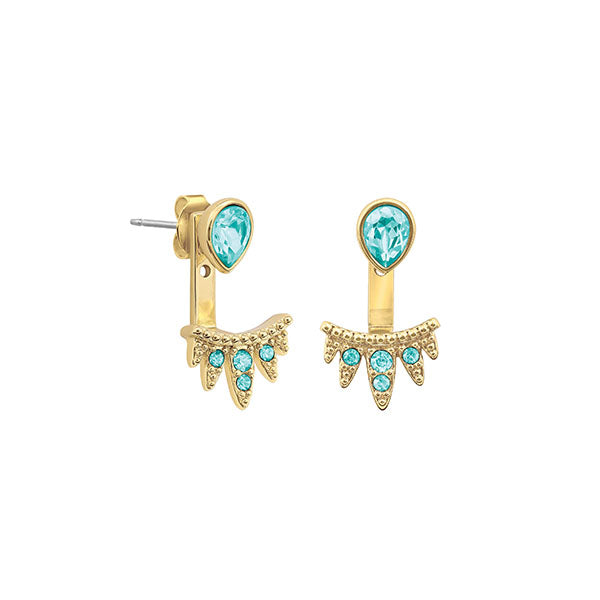Teardrop Jacket Earrings - Turquoise Coloured Crystal/Gold Plated