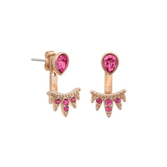 Teardrop Jacket Earrings - Rose Crystal/Rose Gold Plated