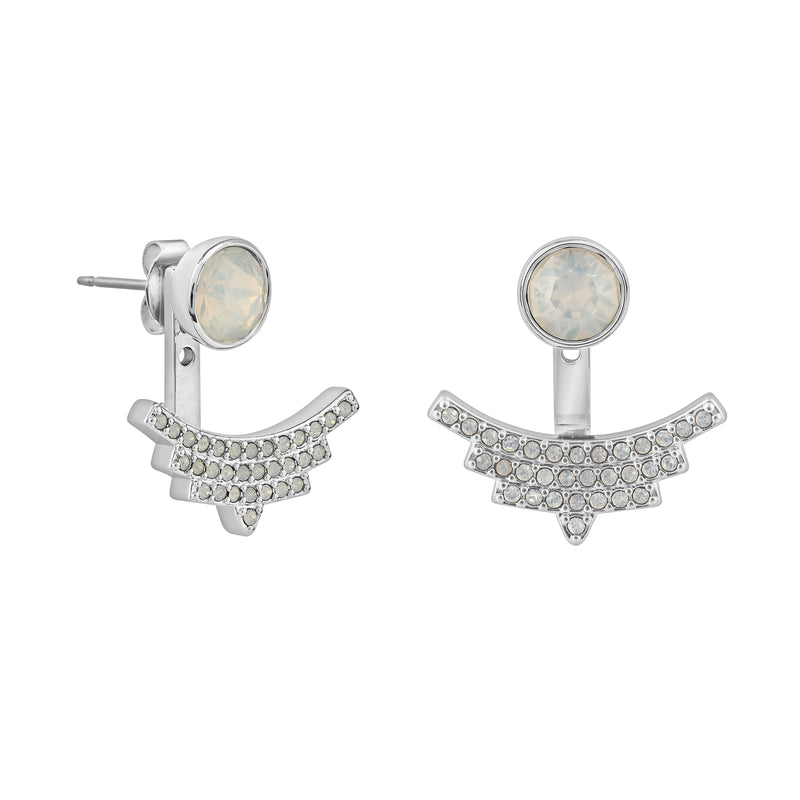 Pavé Arc Jacket Earrings & Skinny Pavé & Stone Bangle Gift Set - Crystal/Rhodium Plated