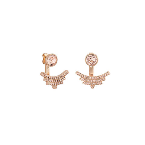 Pavé Arc Jacket Earrings - Vintage Rose Crystal/Rose Gold Plated