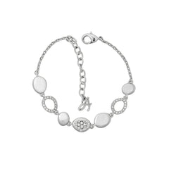 Scattered Crystal Station Bracelet - Crystal/Rhodium Plated
