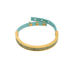 Crystal Fabric & Leather Cuff - Crystal Fabric/Gold Plated