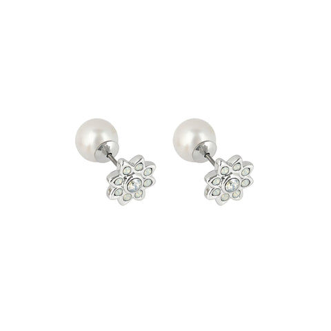 Crystal Flower Reversible Earrings - White Opal Crystal/Rhodium Plated