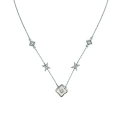 Resin Floret Station Necklace - Crystal/White Resin/Rhodium Plated
