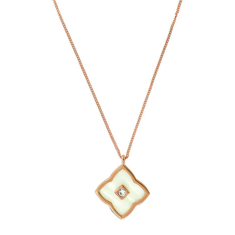 Resin Floret Pendant Necklace - Crystal/White Resin/Rose Gold Plated