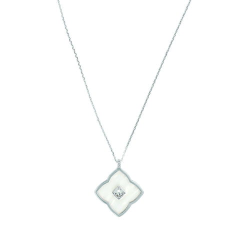 Resin Floret Long Pendant Necklace - Crystal/White Resin/Rhodium Plated