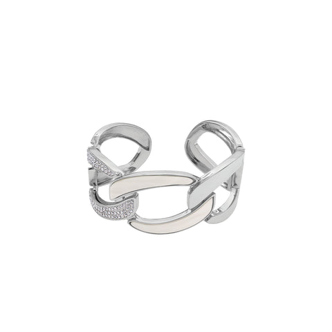 Resin Curb Link Cuff - Crystal/White Resin/Rhodium Plated