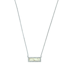Resin & Pavé Bar Necklace - Crystal/White Resin/Rhodium Plated