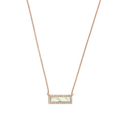 Resin & Pavé Bar Necklace - Crystal/White Resin/Rose Gold Plated