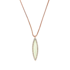 Resin Navette Necklace - Crystal/Rose Gold Plated