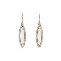 Resin Navette French Wire Earrings - Crystal/White Resin/Rhodium Plated
