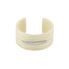 Resin Wide Cuff - Crystal/White Resin/Rhodium Plated
