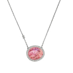 Graphic Crystal Stone Necklace - Blush Crystal Fabric/Rhodium Plated