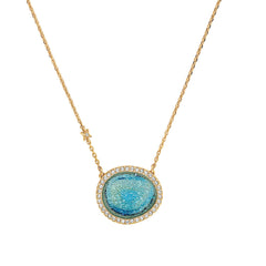 Graphic Crystal Stone Necklace - Blue Crystal Fabric/Gold Plated