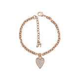 Pointed Heart Charm Bracelet - Crystal/Rose Gold Plated