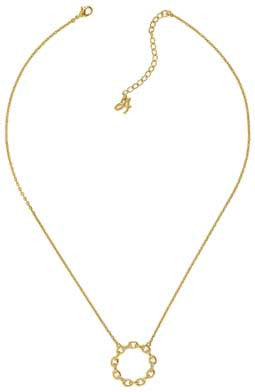 Circle Link Pendant Necklace - Crystal/Gold Plated