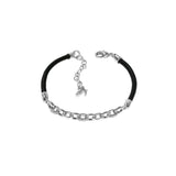 Fixed Cable Link Bracelet - Crystal/Rhodium Plated